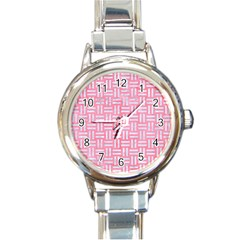 Woven1 White Marble & Pink Watercolor Round Italian Charm Watch by trendistuff