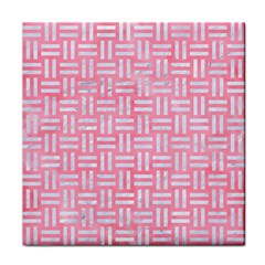 Woven1 White Marble & Pink Watercolor Tile Coasters by trendistuff