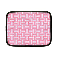 Woven1 White Marble & Pink Watercolor Netbook Case (small)  by trendistuff