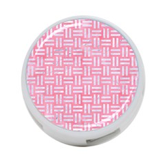 Woven1 White Marble & Pink Watercolor 4 Port Usb Hub (one Side) by trendistuff