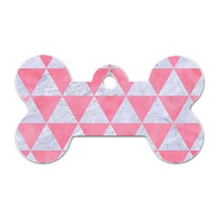 Triangle3 White Marble & Pink Watercolor Dog Tag Bone (one Side) by trendistuff