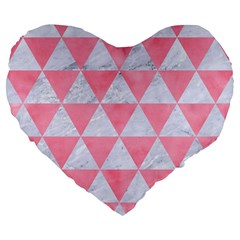 Triangle3 White Marble & Pink Watercolor Large 19  Premium Flano Heart Shape Cushions by trendistuff