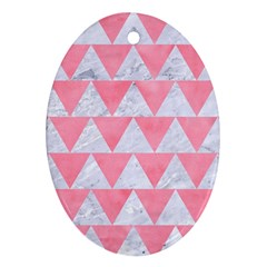 Triangle2 White Marble & Pink Watercolor Oval Ornament (two Sides)