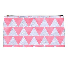 Triangle2 White Marble & Pink Watercolor Pencil Cases by trendistuff