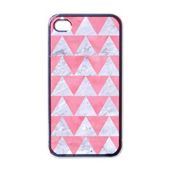 Triangle2 White Marble & Pink Watercolor Apple Iphone 4 Case (black) by trendistuff