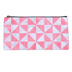 Triangle1 White Marble & Pink Watercolor Pencil Cases by trendistuff