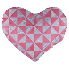 Triangle1 White Marble & Pink Watercolor Large 19  Premium Heart Shape Cushions by trendistuff