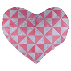 Triangle1 White Marble & Pink Watercolor Large 19  Premium Flano Heart Shape Cushions by trendistuff