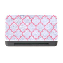 Tile1 White Marble & Pink Watercolor (r) Memory Card Reader With Cf by trendistuff
