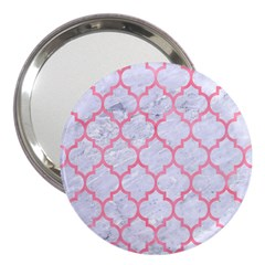 Tile1 White Marble & Pink Watercolor (r) 3  Handbag Mirrors by trendistuff