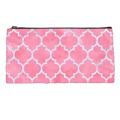 Tile1 White Marble & Pink Watercolor Pencil Cases by trendistuff