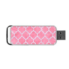 Tile1 White Marble & Pink Watercolor Portable Usb Flash (one Side) by trendistuff