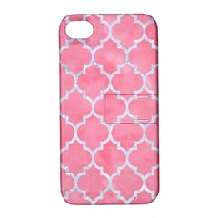 Tile1 White Marble & Pink Watercolor Apple Iphone 4/4s Hardshell Case With Stand by trendistuff