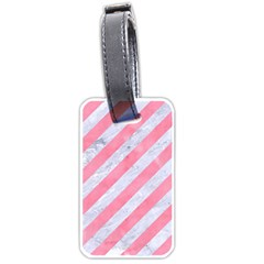 Stripes3 White Marble & Pink Watercolor (r) Luggage Tags (one Side)  by trendistuff