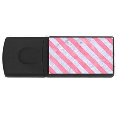 Stripes3 White Marble & Pink Watercolor Rectangular Usb Flash Drive by trendistuff