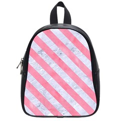 Stripes3 White Marble & Pink Watercolor School Bag (small) by trendistuff