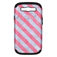 Stripes3 White Marble & Pink Watercolor Samsung Galaxy S Iii Hardshell Case (pc+silicone) by trendistuff