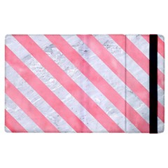 Stripes3 White Marble & Pink Watercolor Apple Ipad 3/4 Flip Case by trendistuff