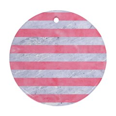 Stripes2white Marble & Pink Watercolor Round Ornament (two Sides) by trendistuff