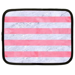Stripes2white Marble & Pink Watercolor Netbook Case (xxl)  by trendistuff