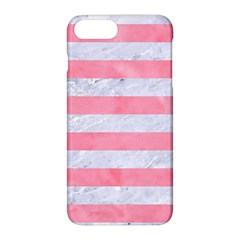 Stripes2white Marble & Pink Watercolor Apple Iphone 8 Plus Hardshell Case by trendistuff