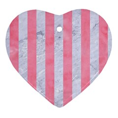 Stripes1 White Marble & Pink Watercolor Ornament (heart) by trendistuff