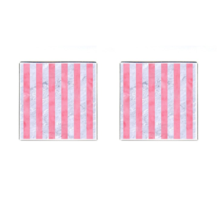 STRIPES1 WHITE MARBLE & PINK WATERCOLOR Cufflinks (Square)