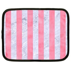 Stripes1 White Marble & Pink Watercolor Netbook Case (large) by trendistuff