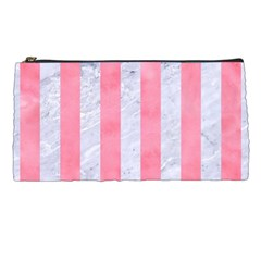 Stripes1 White Marble & Pink Watercolor Pencil Cases by trendistuff