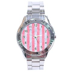 Stripes1 White Marble & Pink Watercolor Stainless Steel Analogue Watch by trendistuff