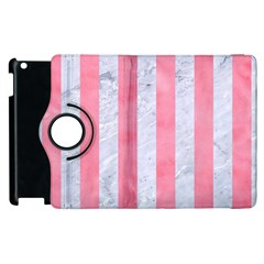 Stripes1 White Marble & Pink Watercolor Apple Ipad 2 Flip 360 Case by trendistuff