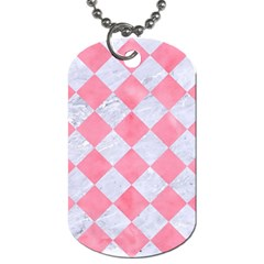 Square2 White Marble & Pink Watercolor Dog Tag (two Sides) by trendistuff