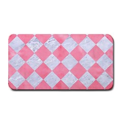 Square2 White Marble & Pink Watercolor Medium Bar Mats by trendistuff