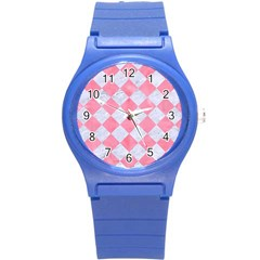 Square2 White Marble & Pink Watercolor Round Plastic Sport Watch (s) by trendistuff