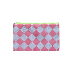 Square2 White Marble & Pink Watercolor Cosmetic Bag (xs) by trendistuff