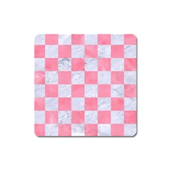 Square1 White Marble & Pink Watercolor Square Magnet by trendistuff