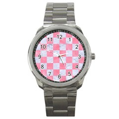 Square1 White Marble & Pink Watercolor Sport Metal Watch