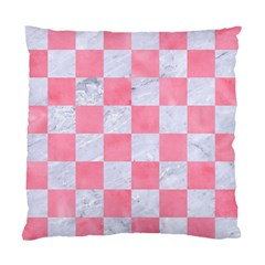 Square1 White Marble & Pink Watercolor Standard Cushion Case (one Side) by trendistuff