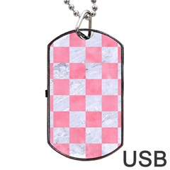 Square1 White Marble & Pink Watercolor Dog Tag Usb Flash (two Sides) by trendistuff