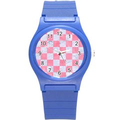 Square1 White Marble & Pink Watercolor Round Plastic Sport Watch (s) by trendistuff