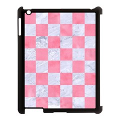 Square1 White Marble & Pink Watercolor Apple Ipad 3/4 Case (black) by trendistuff
