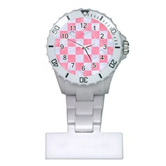 Square1 White Marble & Pink Watercolor Plastic Nurses Watch by trendistuff