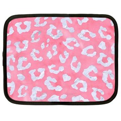 Skin5 White Marble & Pink Watercolor (r) Netbook Case (xl)  by trendistuff