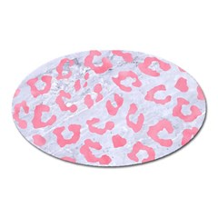 Skin5 White Marble & Pink Watercolor Oval Magnet