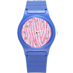 Skin4 White Marble & Pink Watercolor (r) Round Plastic Sport Watch (s) by trendistuff