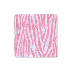 Skin4 White Marble & Pink Watercolor Square Magnet by trendistuff