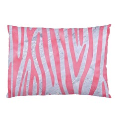 Skin4 White Marble & Pink Watercolor Pillow Case by trendistuff