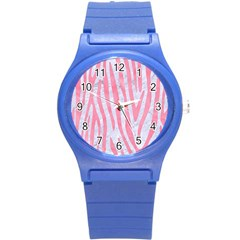Skin4 White Marble & Pink Watercolor Round Plastic Sport Watch (s) by trendistuff