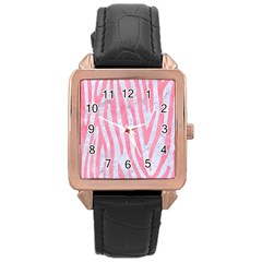 Skin4 White Marble & Pink Watercolor Rose Gold Leather Watch  by trendistuff