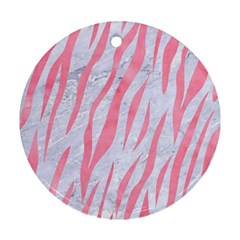Skin3 White Marble & Pink Watercolor (r) Round Ornament (two Sides) by trendistuff